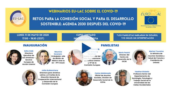 """Seminario web """"Retos para la cohesión social y para el desarrollo sostenible: la Agenda 2030 despúes de la COVID19"""""""