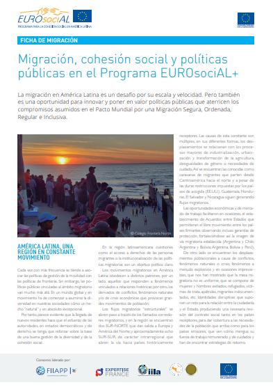 Migración, cohesión social y políticas públicas en el Programa EUROsociAL+