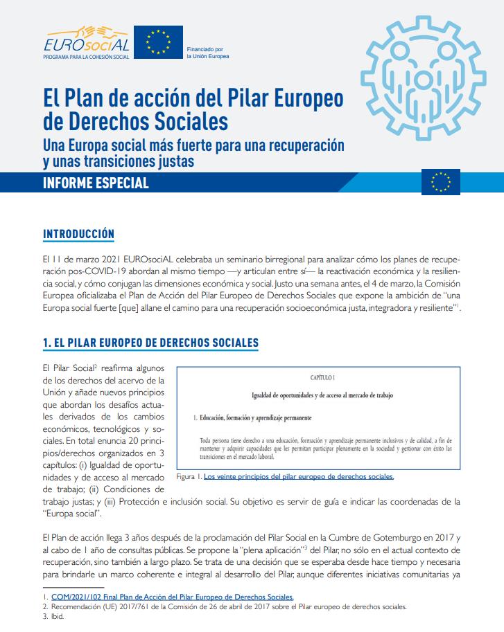 El Plan de acción del Pilar Europeo de Derechos Sociales