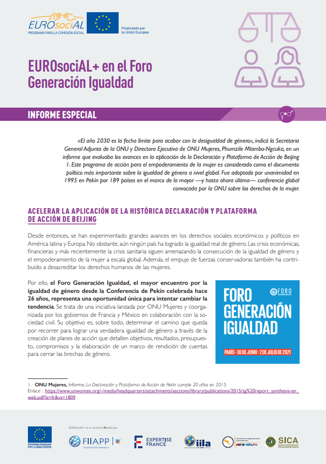EUROsociAL+ en el Foro Generación Igualdad